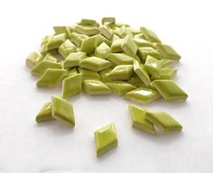Neon green diamond ceramic mosaic tiles, Handmade