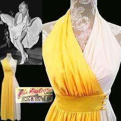 vintage DEEP V plunge BACKLESS 50's MARILYN HALTER 1970's disco twirl skirt yellow white colorblock dress SEXY ESTEVEZ XS S 2 4 #Estevez