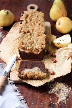 Crumble cake poires & chocolat facile, crumble à la poudre de noisettes