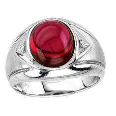 Men's Oval Cabochon Ruby Ring in Sterling Silver
