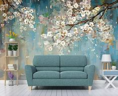 Floral Wallpaper Peach Blossom Wall Mural Watercolor Painting Wall Art Flower Wall Art Natural Home Decor Living Room Bedroom - interiors