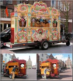 "Dutch ""Draai orgel"" - The Music Organ on wheels. The music man would come to our neighborhood every Friday morning, and play this unique Dutch organ music by turning this giant wheel, located in the back of the organ. At one point the music man would go around and collect money, mostly nickels and dimes, from his ""audience"". I LOVED listening to this organ music. It always brought a sense of joy to the neighborhood."
