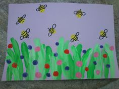 Maro's kindergarten: Μελισσούλες ζουζουνίζουν στα λουλούδια από δαχτυλοτυπώματα!