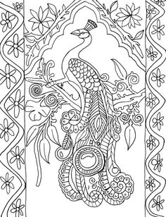 Coloring Page World: Peacock (Portrait)