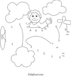Kids Activity -Join the dots & coloring page for kids.., Black & white Picture