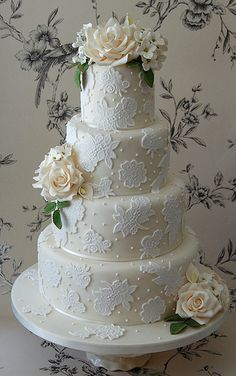 Beautiful 4 tiered White Laced Wedding Cake -Katie | Flickr - Photo Sharing!
