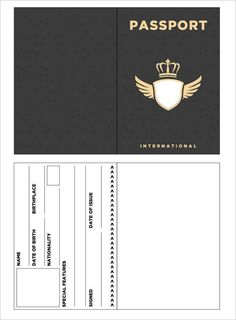 Best Printable Passport Templates Free PDF, PSD Designs are issued by the government of a country to their citizens and serve as gateways. Templates Printable Free, Printables, Passport Template, Ticket Template, Journal Stickers, Aesthetic Stickers, Paper Toys, Lettering, Writing