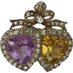 Victorian Double Heart Amethyst Citrine Rose Cut Diamond Bow Crown Brooch