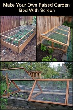 Adding screens to your raised garden beds will help keep unwanted animals away from your plants. Backyard Vegetable Gardens, Small Backyard Gardens, Veg Garden, Vegetable Garden Design, Greenhouse Gardening, Garden Boxes, Lawn And Garden, Backyard Landscaping, Outdoor Gardens