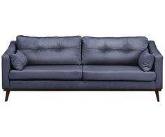 Samt-Sofa Almana (3-Sitzer), Dunkelblau