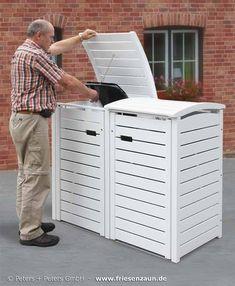 Weiße Mülltonnenbox - praktische Einhandbedienung Hide Trash Cans, Outdoor Trash Cans, Trash Bins, Garden Tool Storage, Shed Storage, Storage Bins, Garbage Can Shed, Garbage Can Storage, Backyard Patio