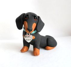 BEST FRIEND Dachshund Sculpture Polymer Clay Mini by by theWRC