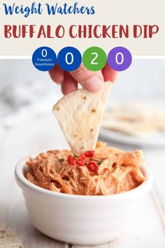 This buffalo chicken dip is zero Smart Points per serving on Weight Watchers Blue