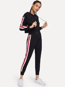 68523d9a Cut And Sew Drawstring Hoodie With Pants Полосатые Брюки, Подростковая  Мода, Подростковый Стиль,