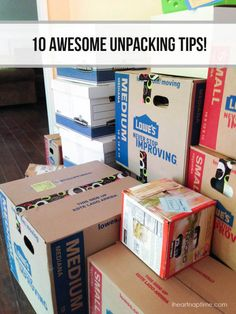 There are tons of great packing tips out there for a big move, but what about UNpacking? 10 Awesome Unpacking Tips Moving Home, Moving Day, Moving Tips, Moving Hacks, Moving Checklist, Unpacking After Moving, Unpacking Tips, Move On Up, Big Move