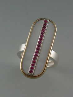 #RING - STERLING SILVER, 18KT, WHITE MOTHER OF PEARL AND PINK SAPPHIRES