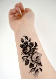 Large Vintage Floral Temporary Tattoo - Black and White, Large Tattoo, Vintage Illustration on Etsy, $8.38