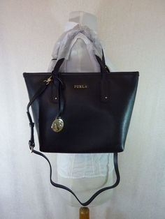 2f6f5565d237 NWT FURLA Onyx Black Saffiano Leather Small Daisy Tote $298 MADE IN ITALY  #Furla #. Michael Kors ...