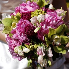 peony, orchid and sweet pea bouquet