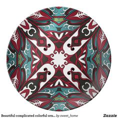 Beautiful complicated colorful ornament dinner plate  Moroccan ornament  make interior unique and add aesthetics sense. Ornament create in oriental tradition. #Home #decor #Room #accessories #Interior #decorating #Idea #Styles #abstract