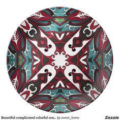 Beautiful complicated colorful ornament dinner plate  Moroccan ornament  make interior unique and add aesthetics sense. Ornament create in oriental tradition. #Home #decor #Room #accessories #Interior #decorating #Idea #Styles #abstract