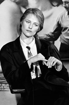 1986: Known for her penchant for menswear, Charlotte Rampling works a masculine look à la Annie Hall in an oversized suit jacket, shirt and tie.