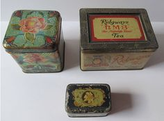 2 Antique Tea Tin Boxes Ridgways and by TransferofTreasures