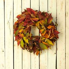 This #DIY Wreath Brings Out The Beauty of Transitional #Fall Colors! Get in Your Backyard and Start Selecting Your #Leaves!