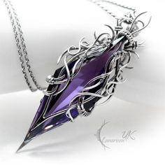 TAESIRTH - silver and amethyst by LUNARIEEN on DeviantArt - Fully handmade work: necklace technique: wire-wrapping materials: sterling silver, fine silver, ame - Goth Jewelry, Fantasy Jewelry, Jewelry Accessories, Jewelry Design, Fashion Jewelry, Gothic Fashion, Wire Wrapped Jewelry, Wire Jewelry, Jewelry Box