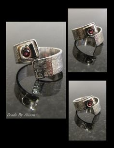 Garnet sterling silver textured ring. The Ring Collection - Beads By Alison