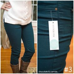 "I would love to try colored skinny jeans, and this is a color that isn't too ""scary"" for a beginner like me :)"