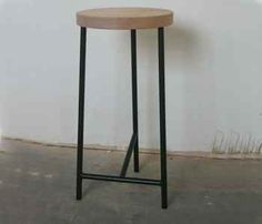 Wood Top 3 Legged Stool - great simple stool in classic colors. Wood seat with black metal.