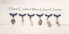 Wine Charms, Wine Glass Charms,  Wine Themed Charms,  Grapes, Bottle Opener Charm, New Home Gifts, Dinner Party by Makewithlovecrafts on Etsy
