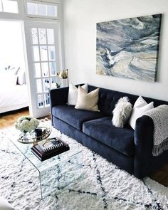 47 Latest Apartment Living Room Decor Ideas To Copy Asap - As a person living in a small home myself, I can appreciate the problems of knowing where to put what. I think the worst scenario is when you are down. Blue Couch Living Room, Living Room Seating, Home Living Room, Apartment Living, Living Room Designs, Apartment Couches, Seating Room Ideas, Long Living Rooms, Living Room Decor Blue Sofa