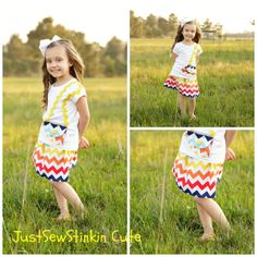 Custom Boutique Two Piece Set Twirly Skirt by JustSewStinkinCute, $40.00