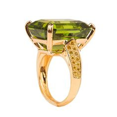 Oscar Heyman Peridot Diamond Ring | From a unique collection of vintage fashion rings at http://www.1stdibs.com/jewelry/rings/fashion-rings/