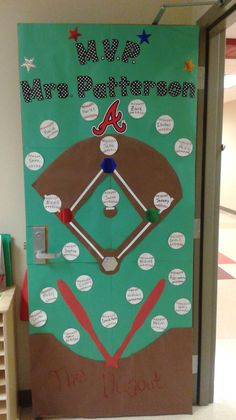Baseball themed door - but you could use the MVP concept for ANY sport (broken link, picture only) Sports Theme Classroom, Classroom Door, Future Classroom, Classroom Organization, Classroom Ideas, Baseball Bulletin Boards, Team Theme, Sport Theme, Teacher Door Decorations