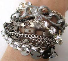 Mixed Metal Bracelet Silver Gunmetal Vintage Wedding Chain Bracelet Industrial - Silver Circus Bracelet