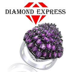 """5.15 Ct Oval & Marquise Cut Amethyst 14K Gold Cluster Ring """"Mother\'s Day Gift"""". Starting at $89"""