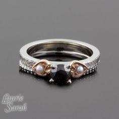 Black Diamond Wedding Set with Pearl Side by LaurieSarahDesigns