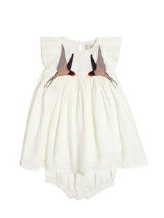 sparrow organic cotton muslin dress set by stella mccartney kids. Little Fashion, Baby Girl Fashion, Kids Fashion, Babies Fashion, Muslin Dress, Cotton Muslin, Baby Kind, My Baby Girl, Bebe Love