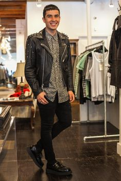 Jordan, spotted in Hayes valley is looking dapper in a vintage Claiborne for Men shirt, purchased from Goodwill on Geary and a custom hand-studded vintage Wilson leather jacket