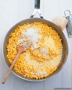 Creamed Corn with Parmesan.  Made this and it came together really quickly and had great flavor. I used frozen corn and halved the recipe for three adult servings. This is a keeper for sure!