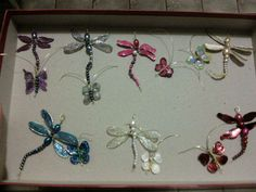 Butterfly and dragonfly in wire beads and nail polish handmade by myself
