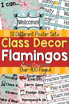 Looking for a way for easy classroom setup? This flamingo themed classroom decoration bundle will help you will set up your class in no time! There are 18 different classroom poster sets including birthdays, calendars, rewards, helpers, objectives and many more! There is an editable class decor file with I Can statements, classroom signs, and name plates. So many options to choose from! Over 400 pages of fun flamingo decor for your classroom setup! #classdecorations #clssdecorthemes Classroom Helpers, Classroom Signs, Classroom Posters, Classroom Setup, Teacher Blogs, Teacher Resources, Teaching Ideas, Welcome Home Banners, Word Wall Letters