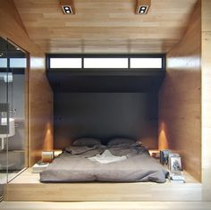 The project of the day is a chic interior design project and not too expensive for a reconstruction of a residential house. The design of . Small Loft Apartments, Loft Spaces, Small Spaces, Living Spaces, Tiny Loft, Apartment Renovation, Apartment Guide, Apartment Ideas, Home Bedroom