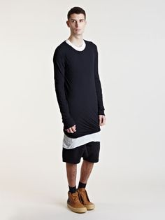 Rick Owens Mens Double Layered Long Sleeve Top