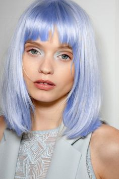 Light blue or platinum blue or light blue with sheen hair. Medium cut. natural eye brow color kept. ***** Referenced by Web Hosting With A Dollar (WHW1.com): WebSite Hosting - Affordable, Reliable, Fast, Easy, Advanced, and Complete.©