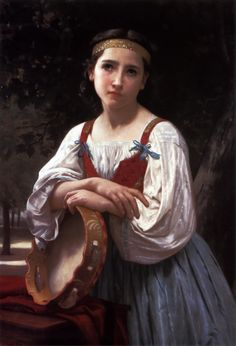 William Adolphe Bouguereau ~ Gypsy Girl with a Basque Drum (the artist was born in La Rochelle, France)
