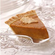 Classic Pumpkin Pie Recipe -Nothing says Thanksgiving like a slice of pumpkin pie. And you can relish every luscious bite of this version since the tender crust is made with a mere hint of canola oil and butter. &mdashTaste of Home Test Kitchen